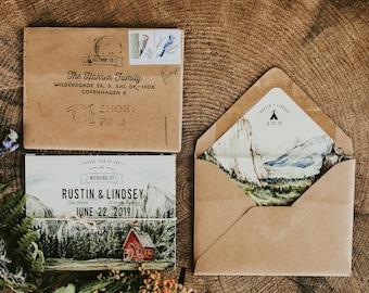 Yosemite Watercolor Folded Wedding Invitation