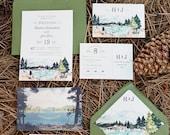 Rustic and Woodland Watercolor Wedding Invitation: Lake Tahoe