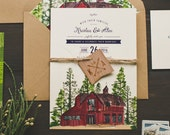 Rustic Watercolor Wedding Invitation: Red Barn and Trees