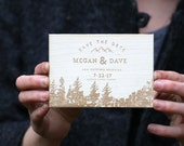 Mountain Save The Dates: Rustic Wood Engraved Save The Dates