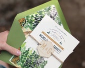 Rustic and Woodland Watercolor Invitation: Forest and Trees Lake Tahoe
