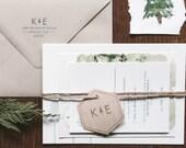 Rustic and Woodland Letterpress Wedding Invitation: Lake Tahoe Pines