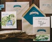 Rustic and Woodland Watercolor Lake Tahoe Mountain Wedding Invitation