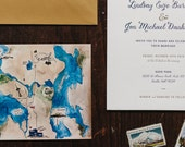Classic and Modern Letterpress Wedding Invitation: Seattle and Watercolor