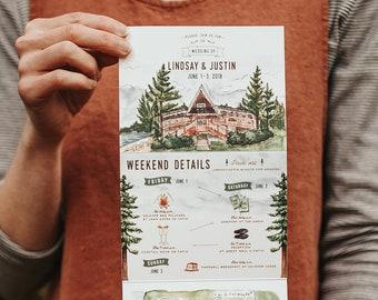 Rustic Camp Watercolor Wedding Invitation: Quad-Fold