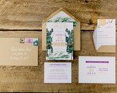Mountain and Tree Lake Tahoe Watercolor Wedding Invitation: Rustic and Whimsical