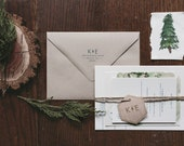 Rustic and Woodland Lettepress Wedding Invitation: Lake Tahoe Watercolor