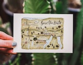 Watercolor Wedding Map Save the Dates