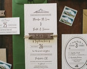 Rustic Tree and Mountain Letterpress Wedding Invitation