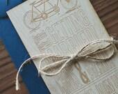 Wood Wedding Invitation : Rustic Bicycle Laser Engraved Wedding Invitation