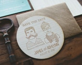 Wooden Coaster Save The Date : Custom Couple Illustration