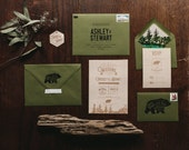 Rustic and Woodland Forest Wood Engraved Invitation: Bear and Trees
