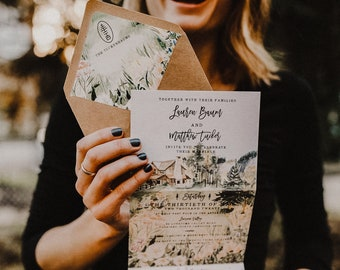 Lonesome Valley Watercolor Folded Wedding Invitation