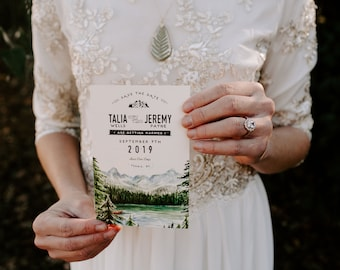 Mountain and Forest Watercolor Save the Date
