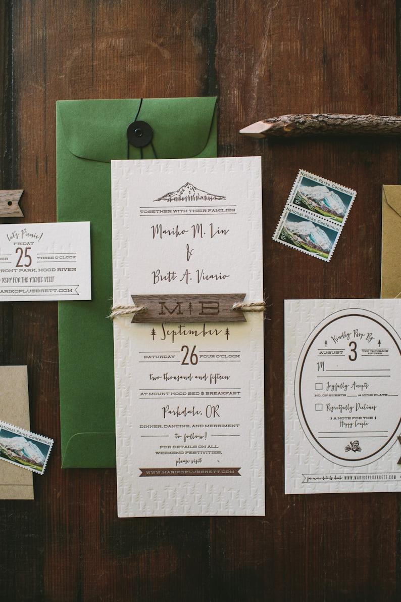 Rustic Tree And Mountain Letterpress Wedding Invitation