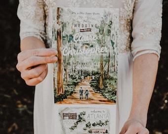 TreeTops Watercolor Folded Wedding Invitation