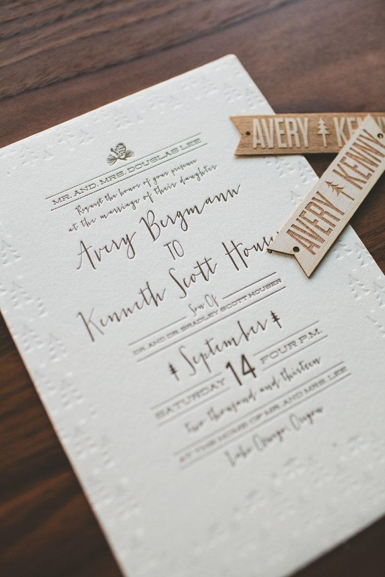 Rustic Folk And Woodland Letterpress Wedding Invitation Pine Cone Trees