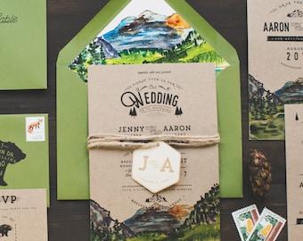 Colorado Rocky Mountains Watercolor Wedding Invitation
