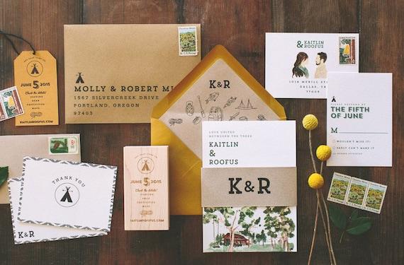 Rustic and woodland watercolor camp vibes wedding invitation stopboris Choice Image