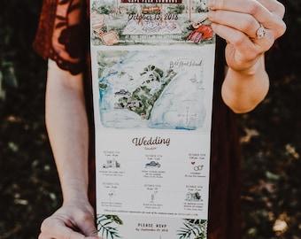 Bohemian Watercolor Folded Wedding Invitation
