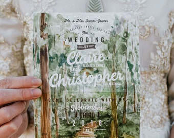 Treetops Folded Watercolor Wedding Invitation