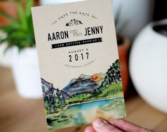 Rustic Watercolor Mountain Save The Date
