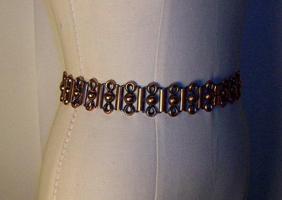 """1950s Renoir Style Copper Link Belt for a 28"""" Wais"""