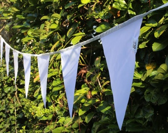 White bunting flags - outdoor bunting waterproof fabric banner, pennant flags, 4+ meters - 3.6+ yard