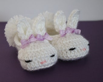 Crocheted Bunny Slippers, Baby Bunny Slippers, 0-6 Months, Baby Bunny Booties, Baby Bunny Shoes