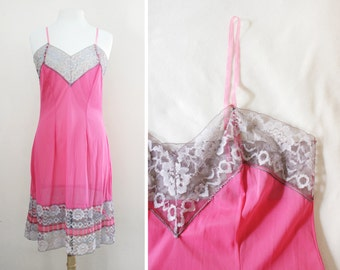 Vintage Lingerie Hot Pink Sexy Sheer Negligee Nightgown Slip with Sweet Lace Trim - Size Large