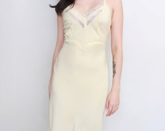 Vintage Lingerie '50s Movie Star Pastel Yellow Slip Negligee Nightgown Boudoir Retro Pin Up style - Size XS to Small