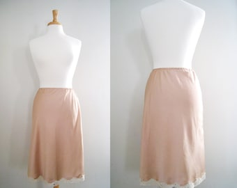Vintage Lingerie 1960s 70s Dusty Rose and Cream Lace Skirt Slip by Eve Stillman - Retro Boudoir Pin Up Girl Style - Size Small / Medium