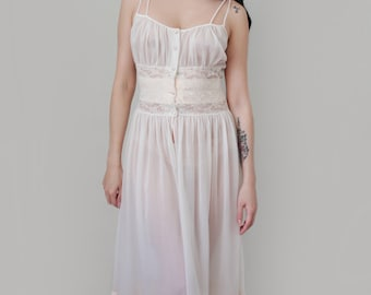 """Vintage Lingerie 1950s """"Bardot"""" Pin Up Nightgown Boho Chic Boudoir Negligee Dress Slip  Bridal Lingerie Eye-Ful by Flaumes - Size Small"""
