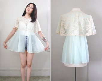 Vintage Lingerie 1960s Angel Sleeve Bed Jacket - Baby Blue Empire Waist with Antique White Lace - Size Small