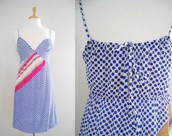 Vintage Lingerie Nylon Nightgown Slip Dress - Beach Cover Up - Polka Dot Summer Dress - Size Small to Medium
