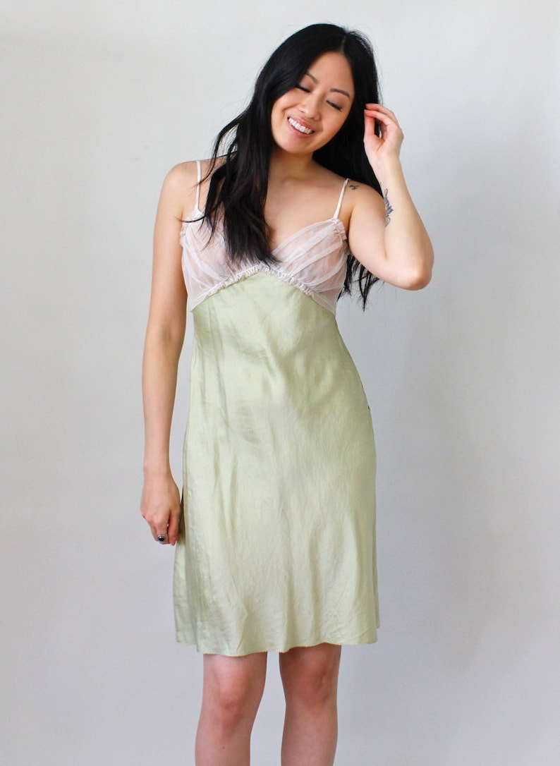 1f872caf5 Vintage Lingerie Silk and Chiffon Lace Nightgown Bridal