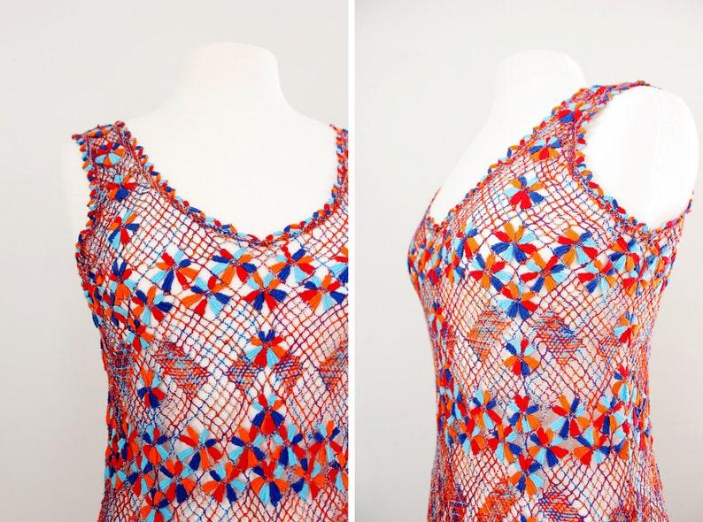 Beach Dress Cover Up Size Small Vintage 1970/'s Crochet Knit Macrame Dress Boho Body Con Dress