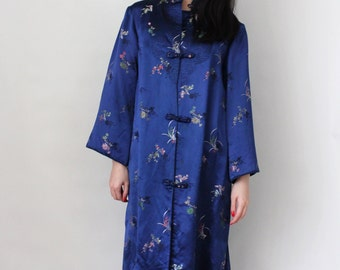 Vintage Chinese Style Luxurious Housecoat Embroidered Brocade Sapphire Blue Kimono Robe Dressing Gown - One Size Fits All