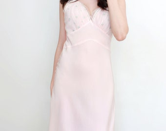 Vintage Lingerie 1950s Pastel Pink Slip Negligee Nightgown by Aristocraft Boudoir Retro Pin Up Style - Size Small to Medium