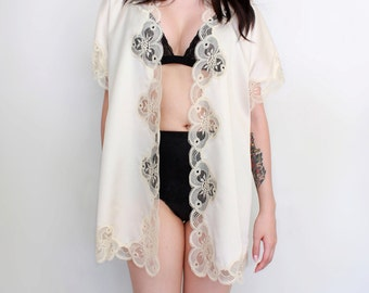 Vintage Lingerie  Bed Jacket Ivory Cream Lace and Satin Cover Up Boudoir Retro Pin Up Style - One Size Fits All