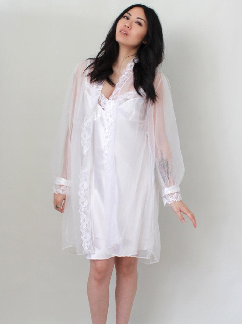 0af72b749d8 Vintage Lingerie Bridal Wedding Peignoir Set Negligee Dress | Etsy