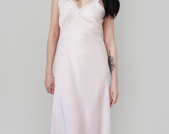 Vintage Lingerie Retro Pin Up Style Negligee 1950s Pastel Pink Slip Boudoir Nightgown by Aristocraft - Size Medium