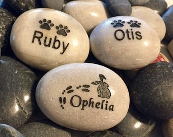 Pet memorial  stone river rock grave marker 2 - 3  inch custom engraved and personalized pet stone