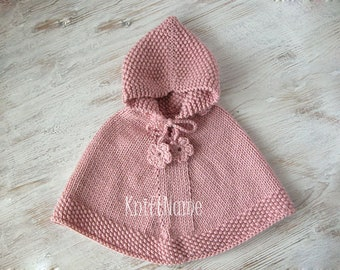 Baby Girl Pink Knit Poncho With Flowers, Cape With Hood, Baby Shower Gift, Made To Order