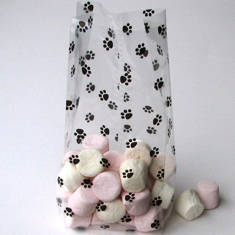 25 Medium Paw print cello black or red green colour dog and puppy print  cellophane bags