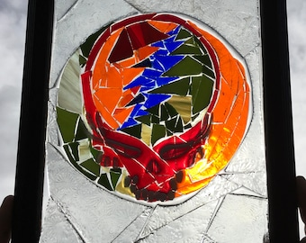 Steelie Stained Glass Window Art Sun Catcher , grateful dead Art