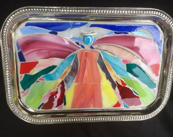 Angel Stained Glass Mosaic Wall Decor