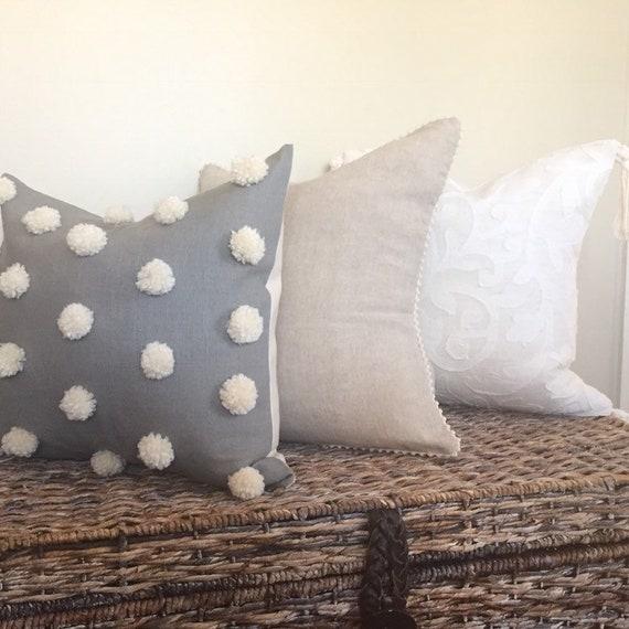cream pom pillow | Square throw pillow