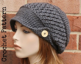 CROCHET HAT PATTERN Instant Download Pdf - Finley Newsboy Slouchy Brimmed Beanie Hat Womens - Permission to Sell English Only