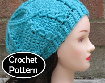 ee01ca1f87a CROCHET HAT PATTERN Instant Download Pdf - Waterlily Cabled Slouchy Beret  Tam Beanie Womens Teens- Permission to Sell English Only